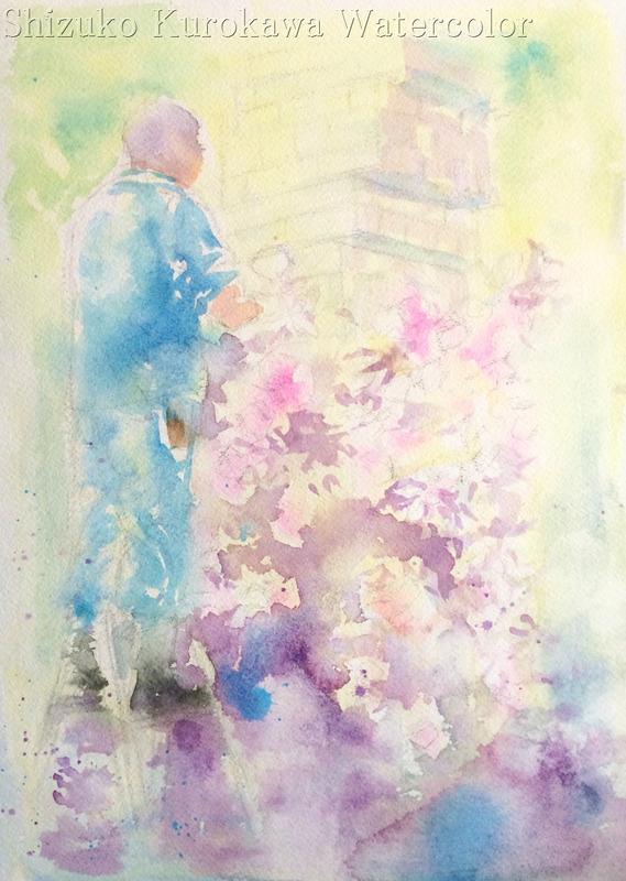 透明水彩画「大阪の風景(中之島公園 薔薇園)途中