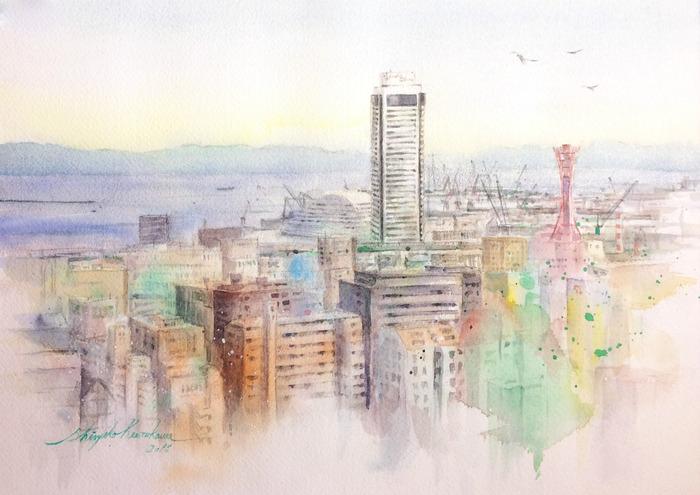 透明水彩画「夜明けの港」(神戸)