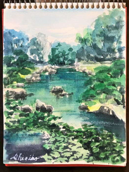 天王寺「慶沢園」スケッチ&透明水彩画に使う「白」色々