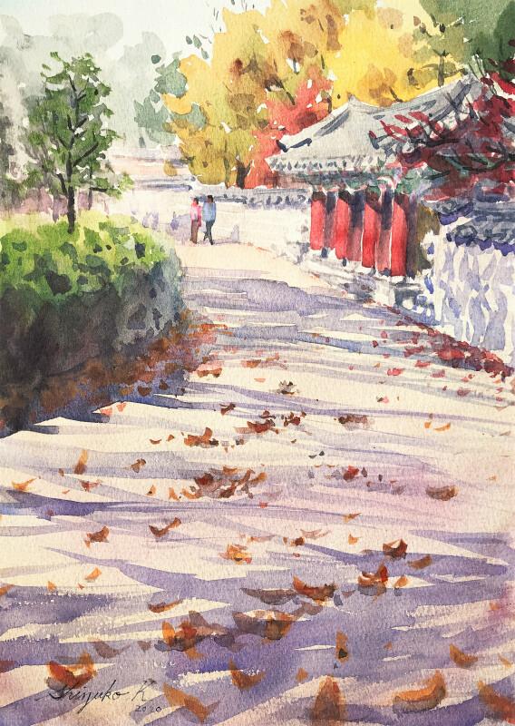 透明水彩スケッチ「落ち葉の散歩道」(鶴見緑地公園)