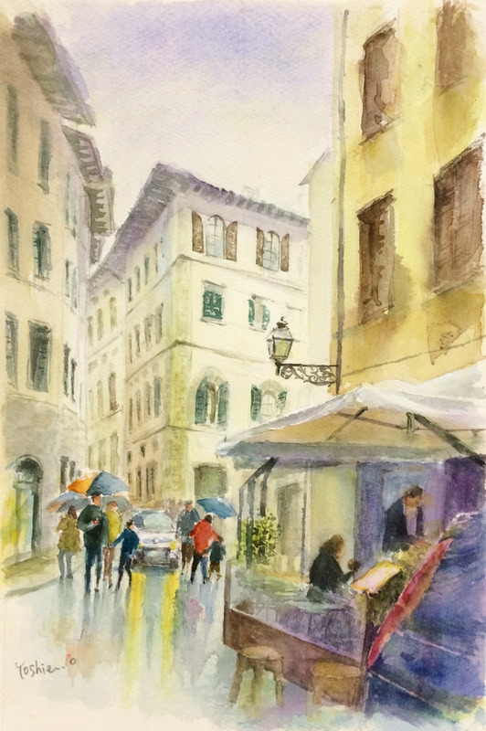 くろかわ透明水彩画教室 OYさん作品「フィレンツェの街角(仮題)」