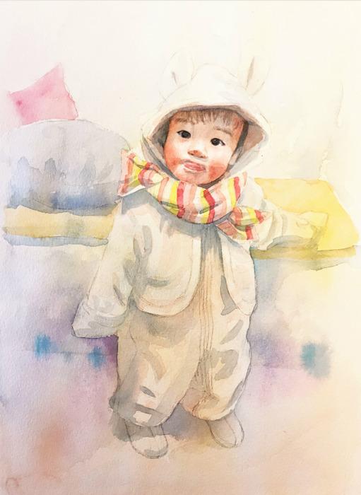 2020.03.08透明水彩画「うちの子がウサギだった頃」途中 (1)