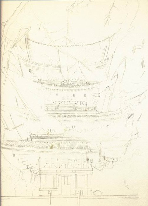 次回作品「奈良 興福寺 五重塔」下描き完了♪