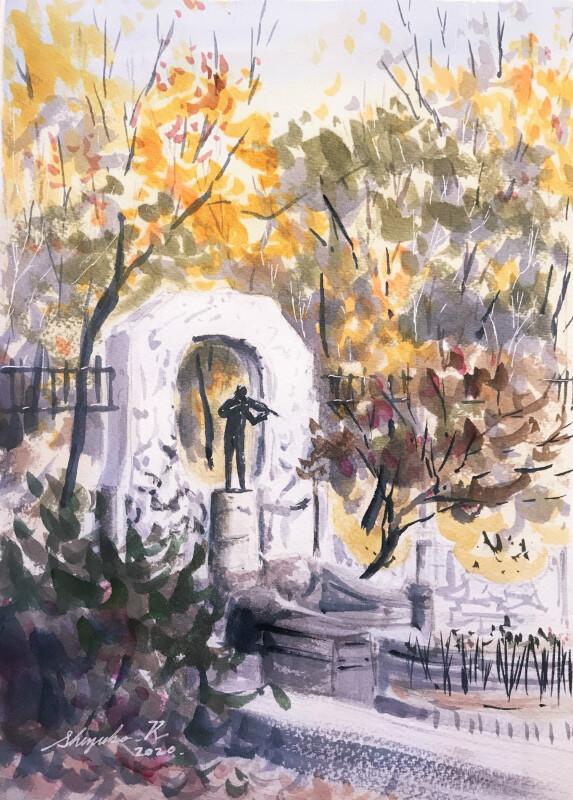 透明水彩スケッチ「木の葉の音楽」~私じゃなくて水彩紙が風邪っぴき!~