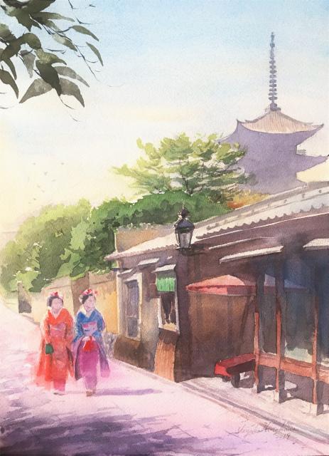 透明水彩画「夏の朝」(京都 ねねの道)を描きました