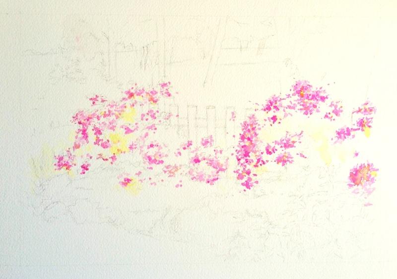 07透明水彩画「淡路島の風景(淡路島公園)」2