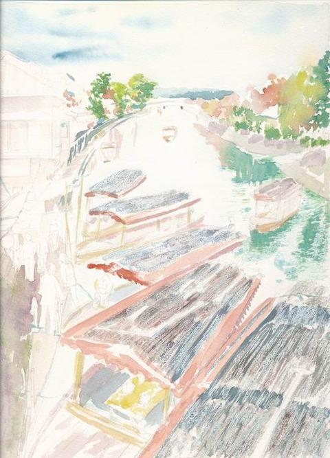 作品「京都宇治川公園界隈」着彩途中 & 仙洞御所見学