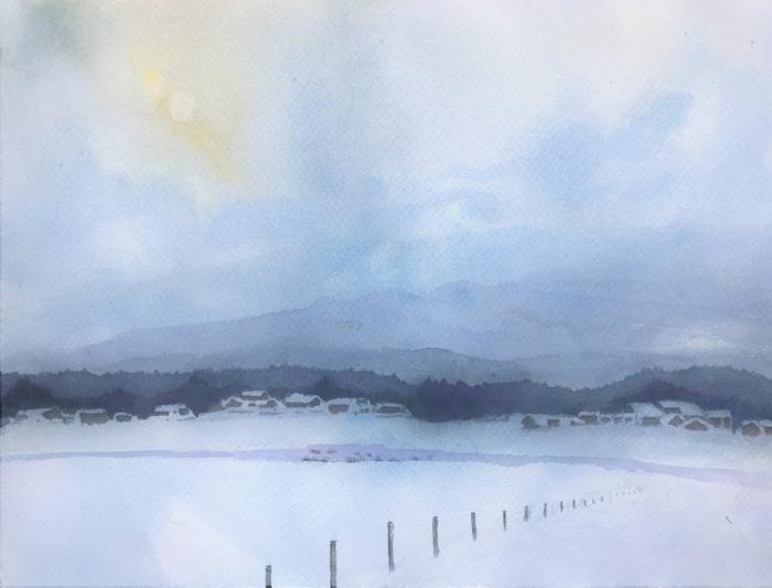 2020.02.11透明水彩画「滋賀の雪景色(仮題)」ANさん途中