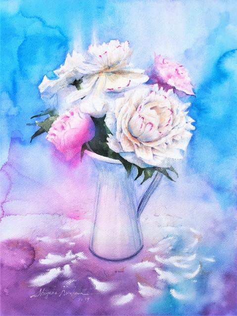 透明水彩画「青の世界(芍薬)」冷え冷えで完成で~す☆
