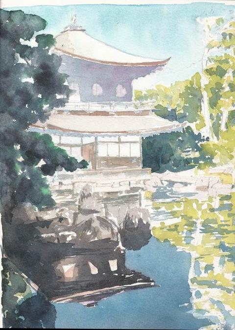 作品「銀閣寺」 着彩途中 & 絵画の構想について