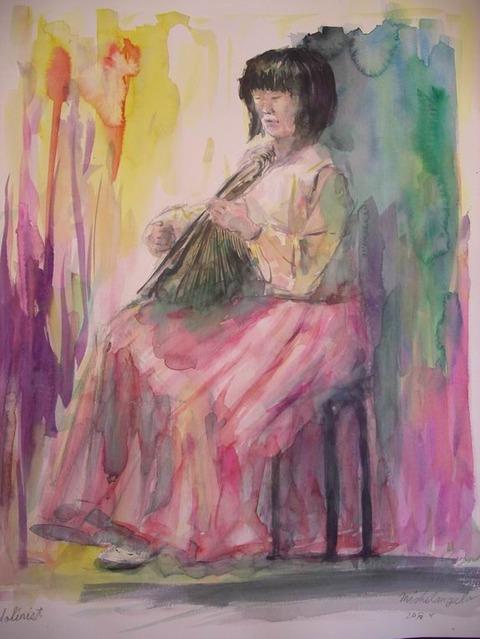 クロッキー会ミケランジェロ大阪で ☆マンドリンを弾く女性☆ を描きました♪