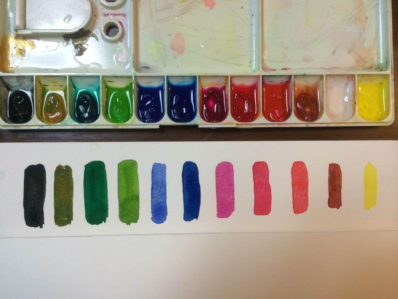 筆を洗わずに色を変えるビデオ撮りました☆