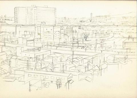 自宅から見える枚方の風景~淀川方面~ 下描き