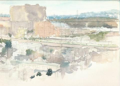 自宅から見た枚方の風景~淀川方面~着彩途中