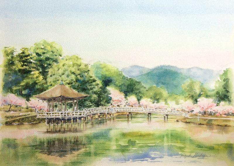 2016-3透明水彩画「春模様 奈良公園」完成small