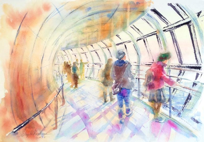 透明水彩画「東京の風景(東京スカイツリー)」&余談タイム「流行?」