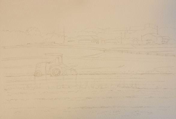 透明水彩画『田植え前 神戸市西区』下描き完了