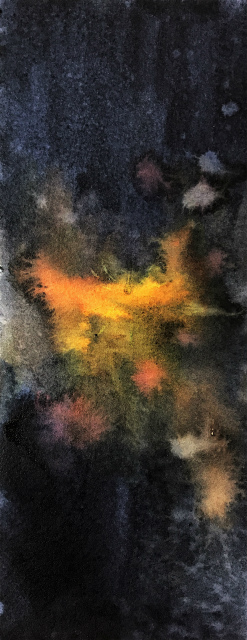 透明水彩画「線香花火(散り菊)」途中