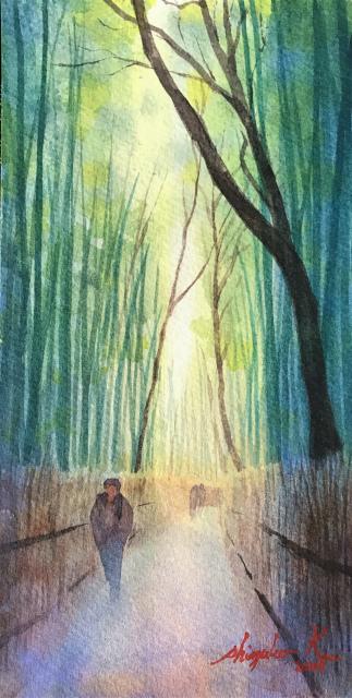 透明水彩画「冬の旅人」(京都嵐山)大きなポストカード 完成