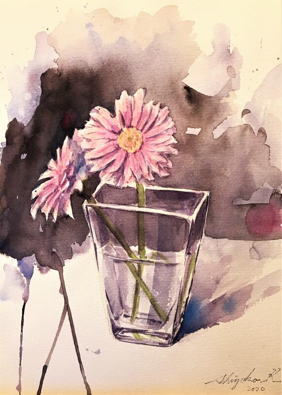 """【趣味で描く絵は""""占い""""の様】ガーベラとガラス花瓶の水彩デッサン"""