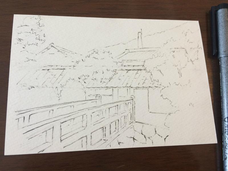 04 水彩スケッチ「富久錦酒造 門前」 下描ペン