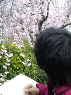 25京都三条歌舞練場前子供写生