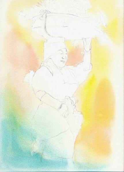 『野菊摘み』工程 (1)
