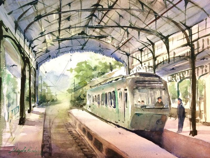 SSC「八瀬比叡山口」スケッチ会で古い駅舎を描く☆&褒められたときの言葉「ありがとう♪」の次は・・・?