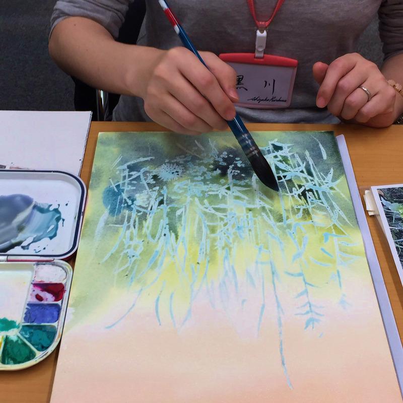 くろかわ個展&教室作品展5日目 マスキングを使ったデモンストレーションなんとかできました(汗汗)