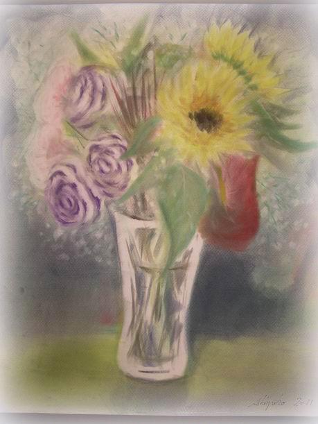 ホルベイン主催 パンパステルワークショップ 2回目 に参加しました♪ モチーフは花の束