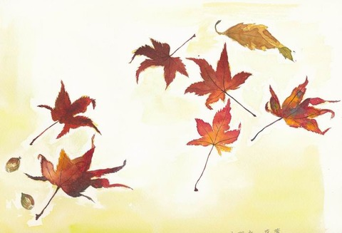 透明水彩画作品「光明寺の落ち葉」