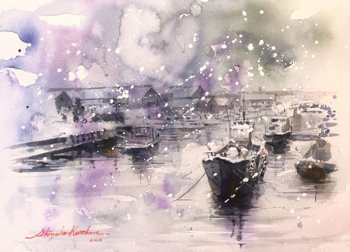 透明水彩画「春待つ港」&「黒川しづこマンスリー個展inアートアライ」始まりました!