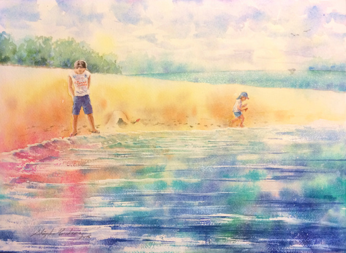 透明水彩画「波遊び」(空想)