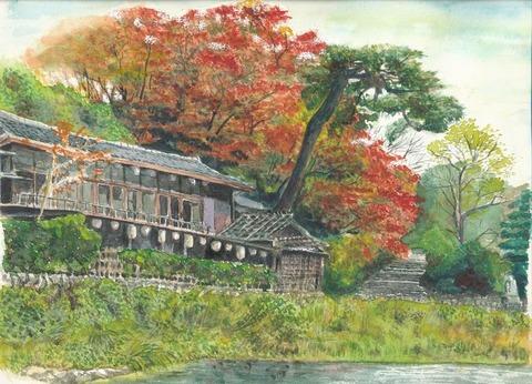 水彩画作品「嵐山の船着場界隈」一応完成しました。