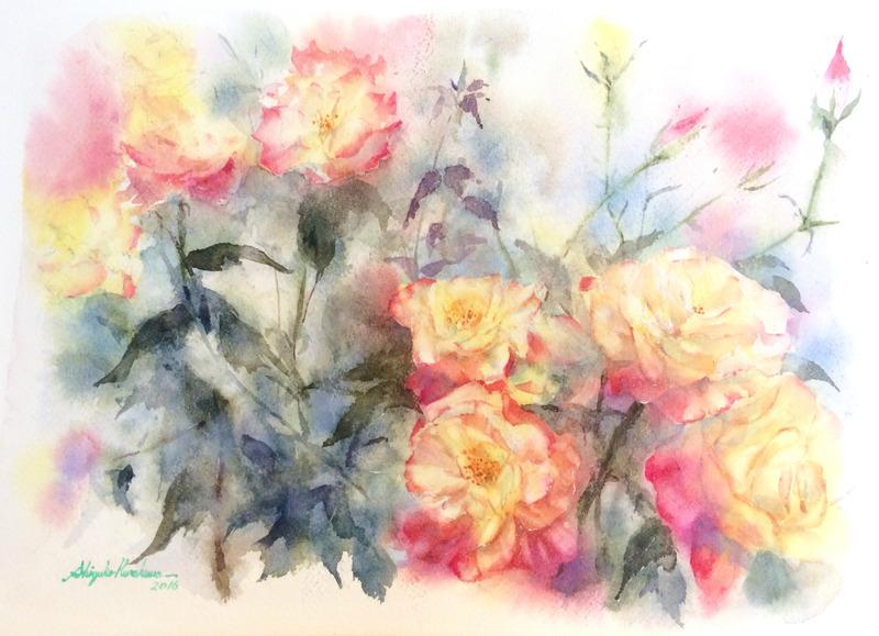 透明水彩画「野薔薇」課題は彩度を再度気を付けようと…