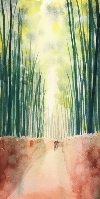 透明水彩画「冬の旅人」(京都嵐山)大きなポストカード 途中 (2)