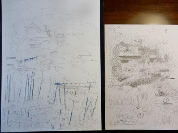 透明水彩画『奈良 長谷寺 牡丹の頃』製作途中 (1)