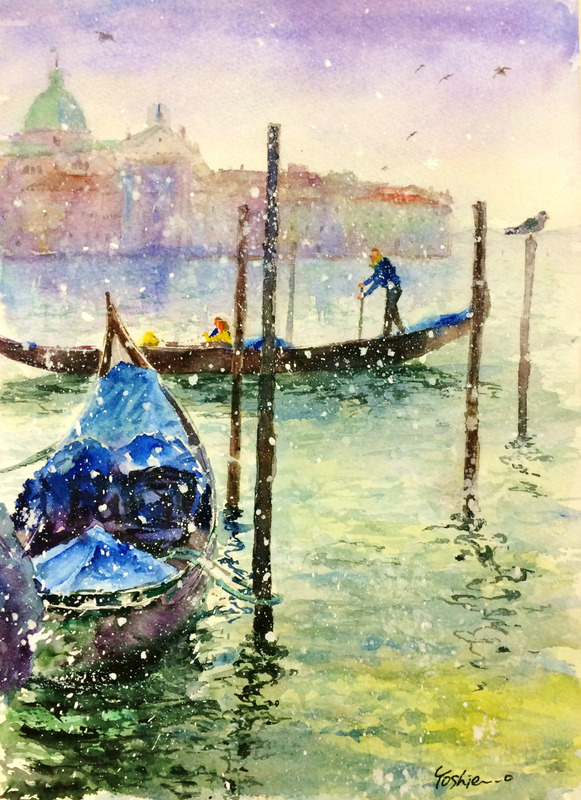 27OYさん透明水彩画「ベニスの風景(仮題)」