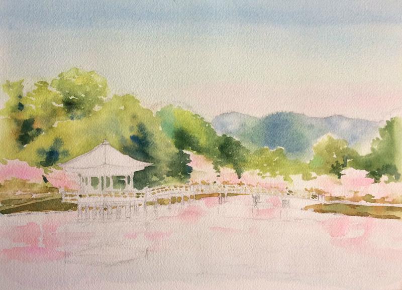 2016-3透明水彩画「春模様 奈良公園」製作途中2small