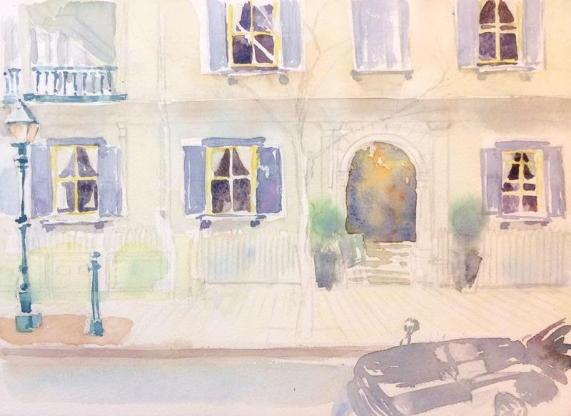 透明水彩画「朝の洋館」&「ラ・クルール・デュ・シエル デッサンアトリエ」のご案内