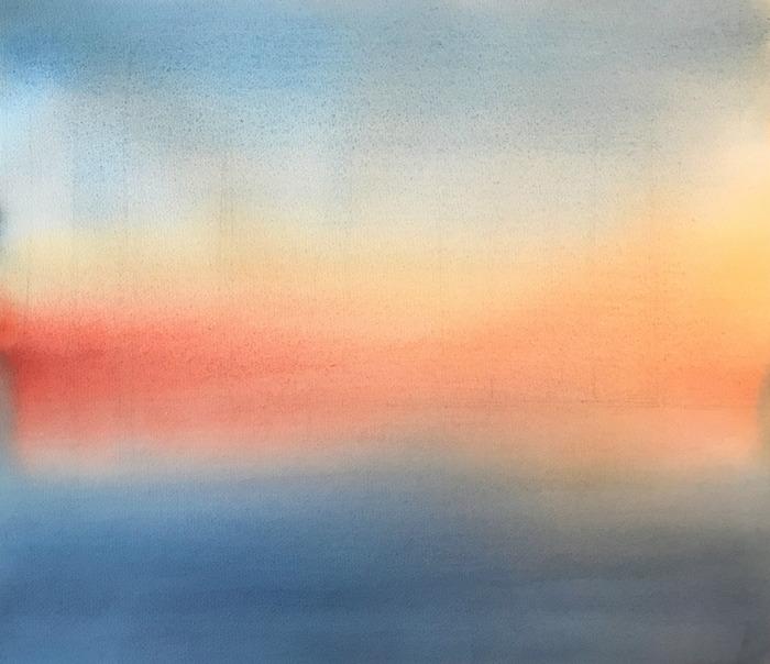 透明水彩画「home」F8アヴァロン水彩紙・やっと使った「ウォーターカラーメディウム」