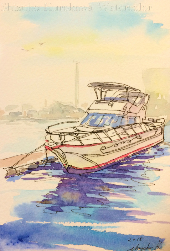 透明水彩一本線スケッチ「ヨットハーバー」&アートエッセイ「問いと答え」