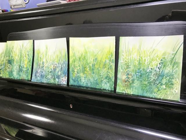 7月31日マスキングで草むらを描くワークショップの様子 前編
