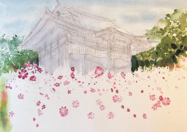 透明水彩画「コスモス寺(奈良)」製作途中 (2)