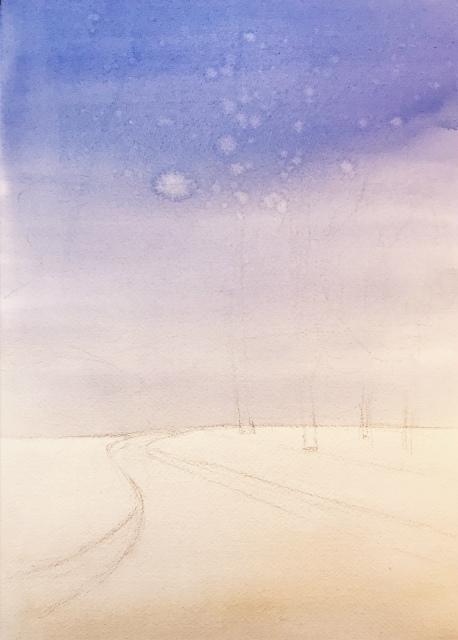 2020.01.04透明水彩画「白い恋人」途中 (1)