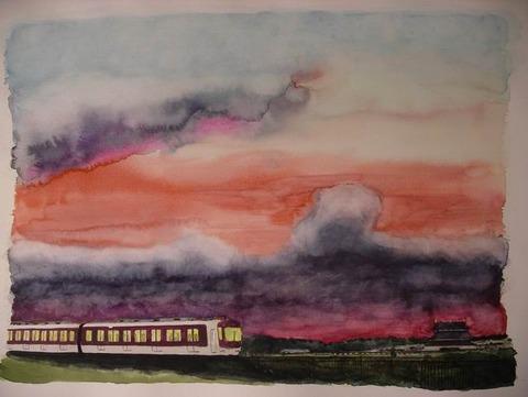 水彩画作品「平城京&近鉄電車&秋の夕暮れ」を描くも撃沈の一日でした。