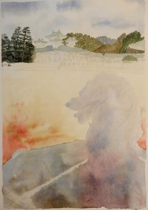 透明水彩画『平安神宮 龍の年(京都市 左京区)』着彩途中 (2)
