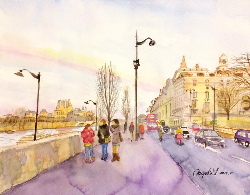 17IMさん透明水彩画作品「ロンドンの風景」