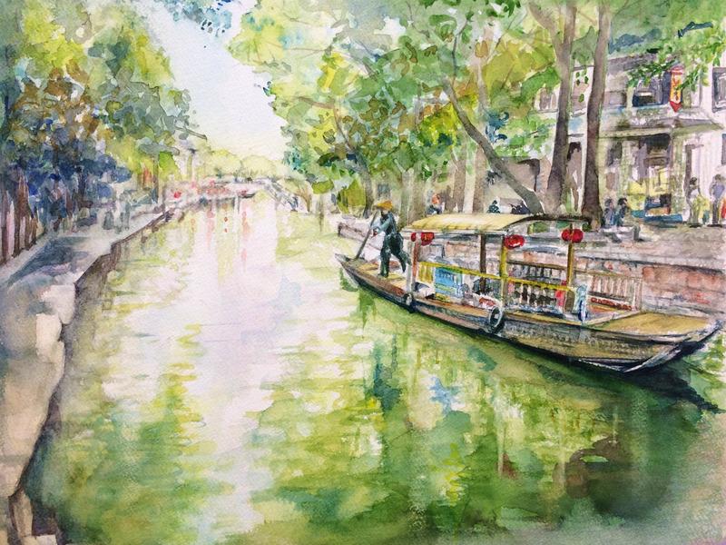 16Mさん水彩画作品「上海の風景(仮題)」