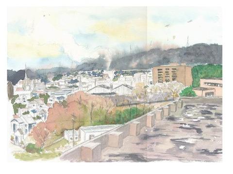 作品「病院から見える枚方の風景~生駒方面~」着彩途中パート1 & 一年の御礼